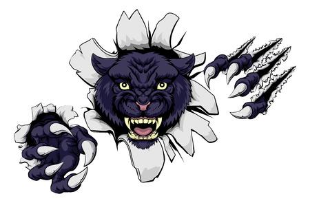 Een zwarte panter cartoon sport mascotte scheuren door een muur met zijn klauwen