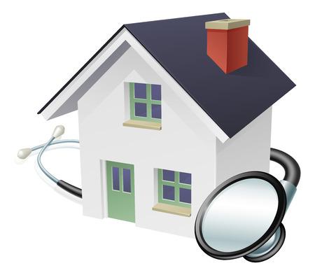 聴診器で家の聴診器と家の概念が包んだ  イラスト・ベクター素材