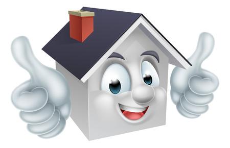 Een gelukkig cartoon huis mascotte mens karakter van het doen van een dubbele thumbs up