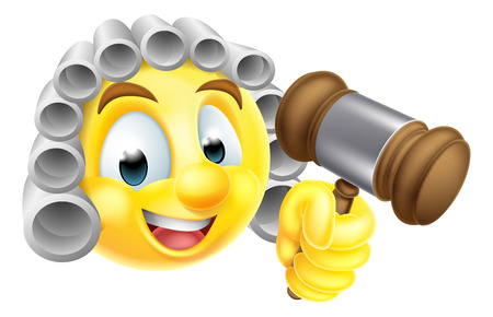 A cartoon emoticon emoji judge character in white wig holding wooden gavel hammer Иллюстрация