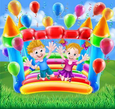 Two kids having fun jumping on a bouncy castle with balloons and streamers Çizim