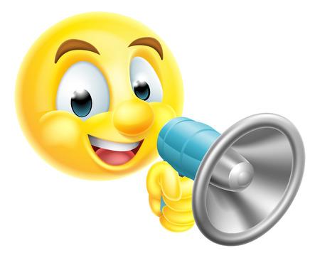 Eine Karikatur Emoticon Emoji Richter Charakter ein Mega-Telefon in die Hand