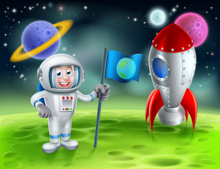 An illustration of a cartoon astronaut and retro space rocket ship or space ship landed on a moon or planet with alien planets and stars in the background