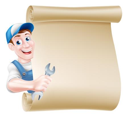 Cartoon plumber or auto repair mechanic service handyman worker man holding a spanner and peeking around a scroll