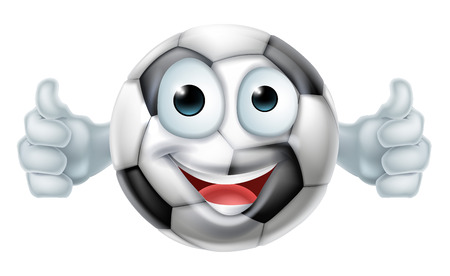 A happy cartoon soccer ball man mascot character doing a double thumbs up