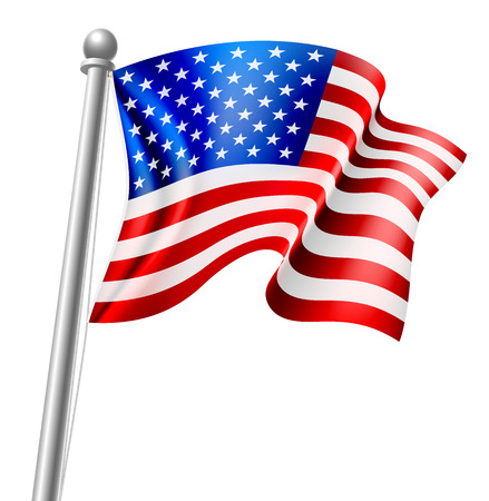 旗のポール上にアメリカ国旗のイラスト  イラスト・ベクター素材