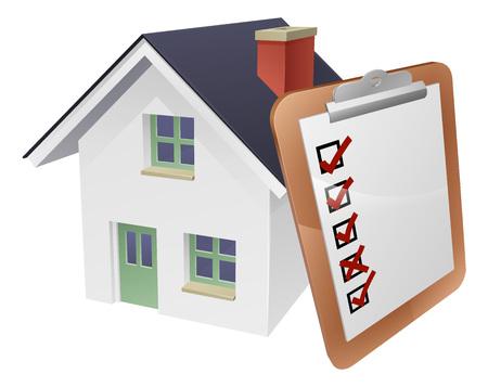 Huis en survey clipboard concept van een huis met een gigantische klembord of enquête leunend op het.
