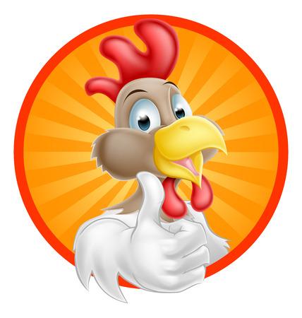 Un gallo cartone animato con un pollice alzato