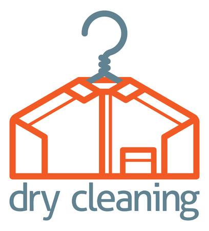 Um ícone de conceito de camisa de gancho de roupas de limpeza a seco de uma camisa estilizada pendurado em um cabide Ilustración de vector