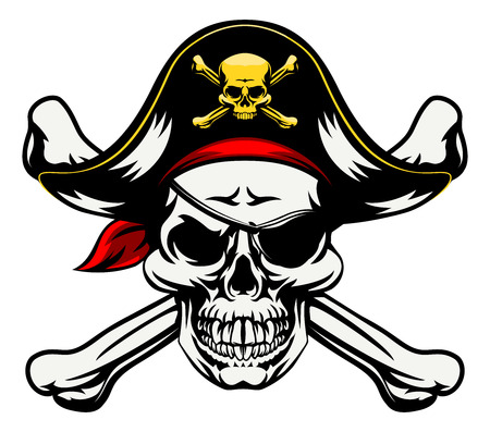 A skull and crossbones dressed in pirate costume with hat and eye patch Stock Illustratie