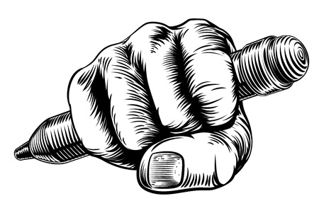 A vintage etched woodcut style fist hand holding a pencil
