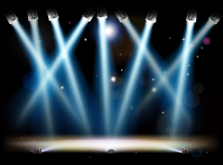 A theatre or theater stage and with footlights and spotlights Illustration