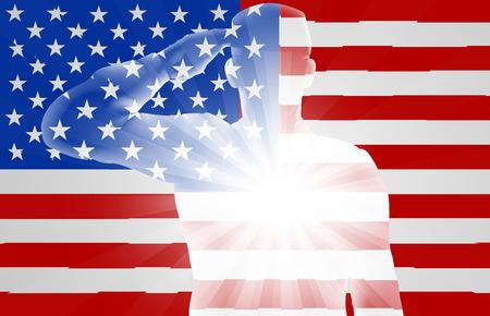 Een soldaat groeten in de voorkant van de Amerikaanse vlag, ontwerp voor Memorial Day of Veterans Day Stockfoto - 56272062