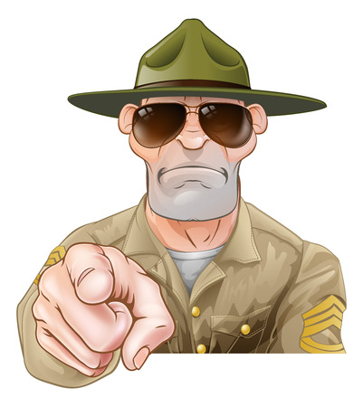 An angry looking cartoon army boot camp drill sergeant pointing Vectores