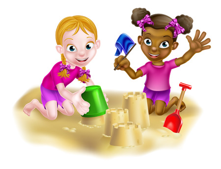 Cartoon little girl children, one white one black, playing in a sand pit or on the beach making sandcastles together in the sand Vektorové ilustrace