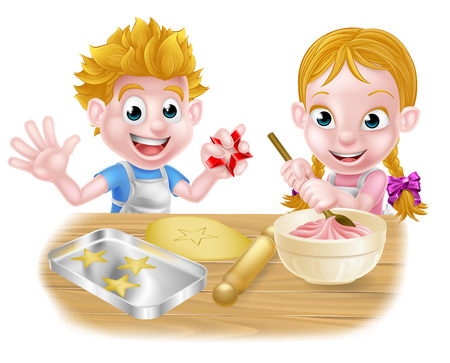 Cartoon kids baking and cooking as chefs in the kitchen Ilustração Vetorial