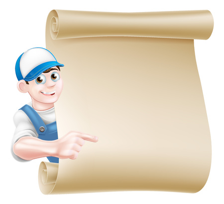 A pointing cartoon mechanic, plumber, handyman, decorator or gardener leaning around a scroll and pointing at a message on it