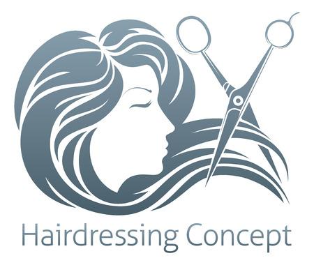 Una mujer hermosa que tiene su corte de pelo de las tijeras del peluquero. Foto de archivo - 56237592