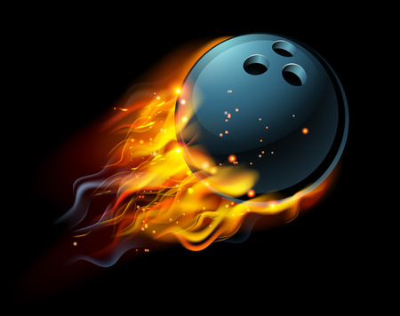 A flaming Bowling ball on fire flying through the air
