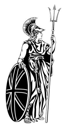 Illustration of Britannia, personification of Britain, holding a Union Jack Shield and trident