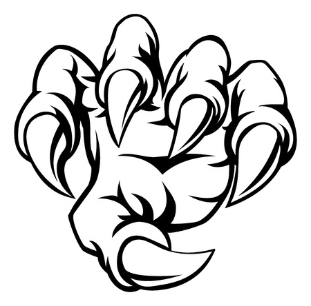 A cartoon hand monster claw illustration