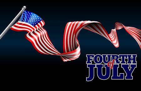 7 月 4 日の独立記念日米国旗リボン背景デザイン