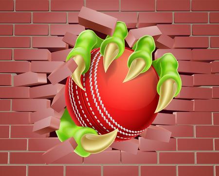 Een illustratie van een klauw hand houden van een cricket bal breken door een bakstenen muur Vector Illustratie