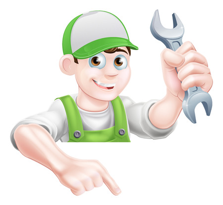 A cartoon plumber or mechanic man holding a spanner and pointing down