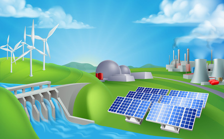 Energy or power generation sources illustration. Includes renewable sources such as hydro dam, solar and wind also nuclear and coal power plants