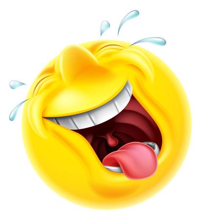 Un muy feliz de risa emoji emoticono sonriente del carácter cara de risa las lágrimas por lo duros están disparando Ilustración de vector