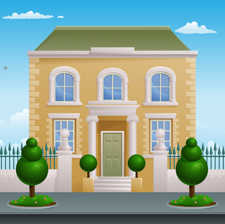 A Georgian or Victorian smart expensive town or country house building mansion Ilustração