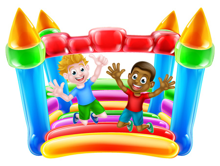 Kids having fun on a bouncy castle or house Vetores