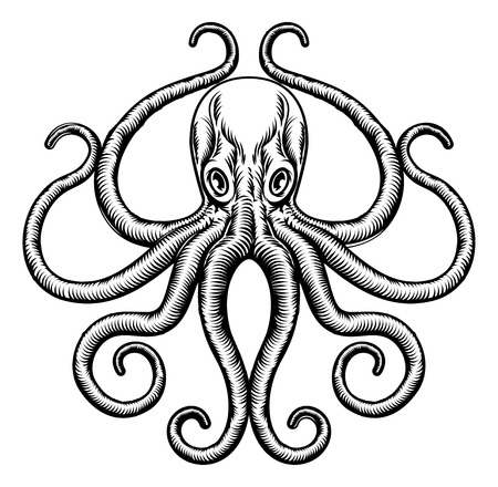 An original octopus or squid tattoo illustration concept design in a vintage woodblock style Illustration