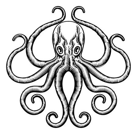Un pulpo original o la ilustración del tatuaje concepto de diseño de calamar en un estilo en madera de la vendimia
