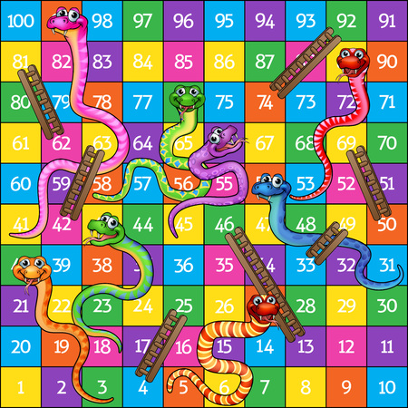 Snakes and ladders board game cartoon illustration