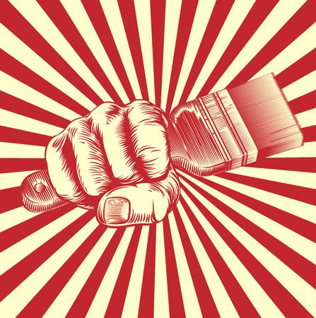 Un diseño original de un puño que sostiene una brocha en el estilo del corte de madera cartel de propaganda de la vendimia Ilustración de vector