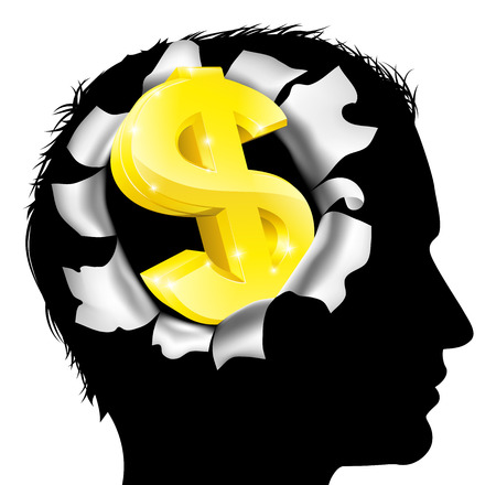 A mans head in silhouette with gold dollar sign symbol. Concept for thinking or dreaming about making money or business success or having a money making idea. Vetores