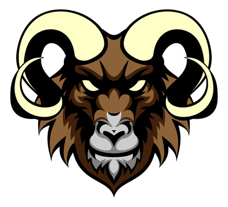 Een illustratie van een ram dier betekenen sport mascotte hoofd