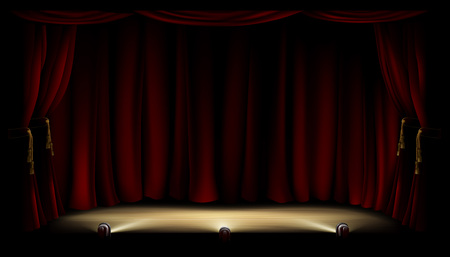 An illustration of a theatre or theater stage with footlights and red curtain backdrop Illustration