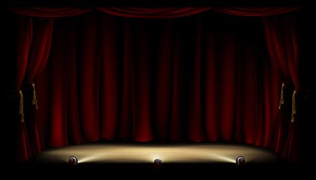 Un esempio di un palcoscenico teatrale o teatro con luci della ribalta e sfondo tenda rossa Archivio Fotografico - 56880340