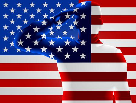 Memorial Day o Día de los Veteranos diseño de un soldado americano que saluda delante de una bandera americana