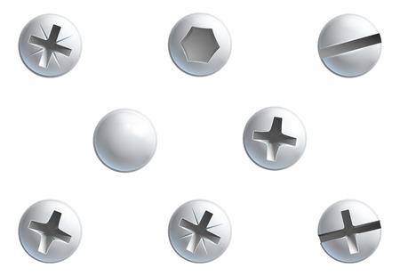 Een set van schroeven, moeren, bouten en klinknagel hoofd design elementen