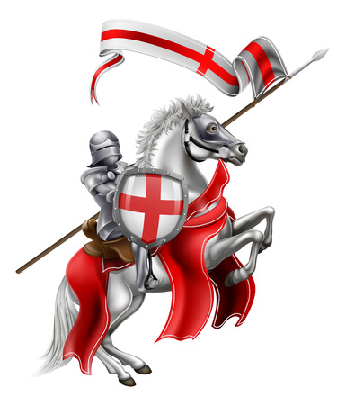 An illustration of Saint George in medieval knight armour mounted on his horse