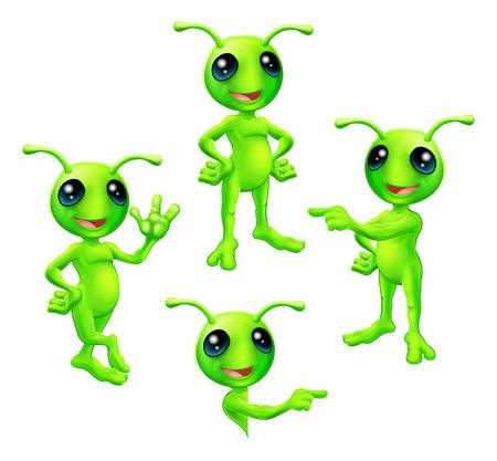 かわいい漫画グリーン エイリアン火星文字 vaus のアンテナのポーズします。  イラスト・ベクター素材
