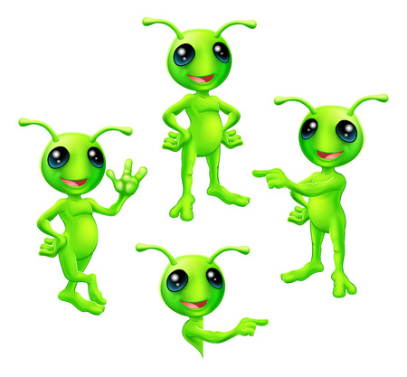 A cute cartoon green alien Martian character with antennae in various poses Vectores