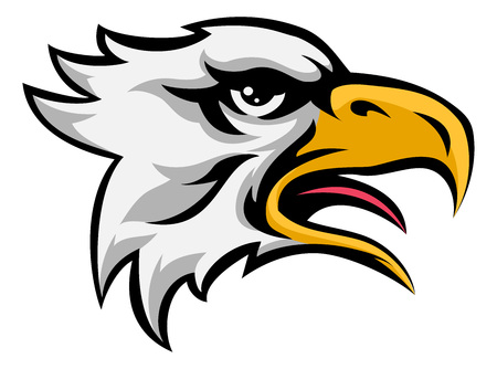 An illustration of a eagle animal mean sports mascot head