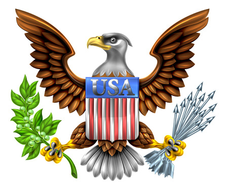 American Eagle Design with bald eagle takiego znaleźć na Wielkiej Pieczęci Stanów Zjednoczonych trzyma gałązkę oliwną i strzały z amerykańską flagę USA tarcza czytania Ilustracje wektorowe