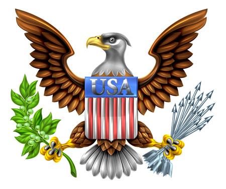 Diseño American Eagle con águila calva, como la que se encuentra en el Gran Sello de los Estados Unidos con una rama de olivo y las flechas con el escudo de la bandera americana lectura EE.UU. Ilustración de vector