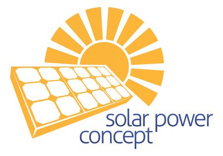 Ikona koncepcja słońca i paneli fotowoltaicznych energia słoneczna komórce Ilustracje wektorowe
