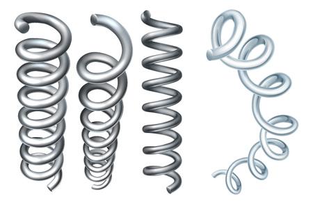 A set of steel metal spring coil design elements